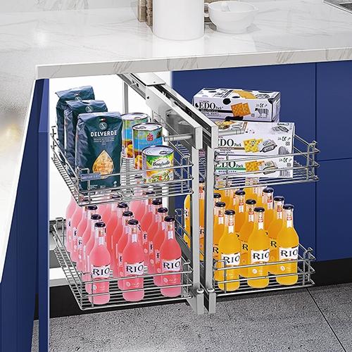 Kitchen cupboard pull basket
